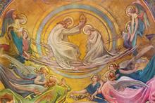 PRAGUE, CZECH REPUBLIC - OCTOBER 13, 2018: The Coronation Of Virgin Mary Fresco In The Side Apse Of Church Kostel Svatého Václava By Rudolf Max Pirner (1885).
