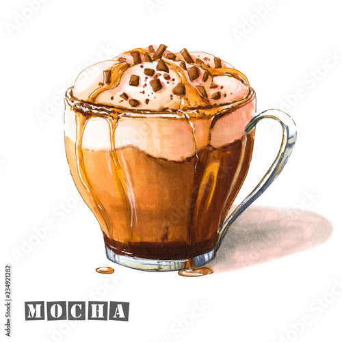 Obraz na plátně Illustration of mocha coffee with whipped cream, chocolate and caramel syrup, sprinkled with chocolate chips in a glass cup