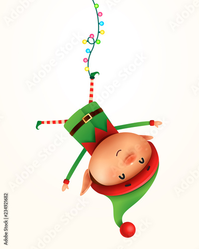 Canvastavla Little elf hanging upside down. Isolated.