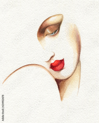 Spoed Fotobehang Aquarel Gezicht abstract woman face. fashion illustration. watercolor painting