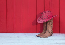 Cowboy Women's Boots, Hat On A...