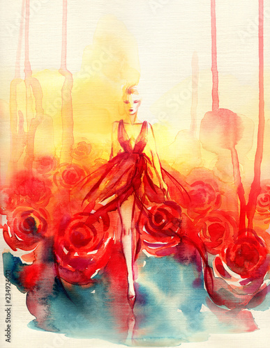 Tuinposter Aquarel Gezicht beautiful woman. fantasy illustration. watercolor painting