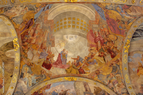 PRAGUE, CZECH REPUBLIC - OCTOBER 18, 2018: The fresco St. Catherine in church Kostel Svaté Kateřiny Alexandrijské by Václav Vavřinec Reiner (1689 - 1743).