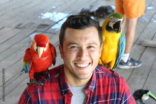 Exotic birds bonding with a man