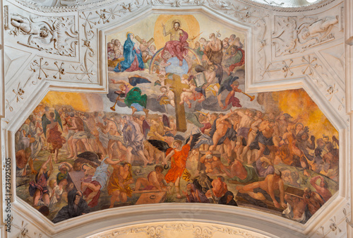 PRAGUE, CZECH REPUBLIC - OCTOBER 18, 2018: The fresco Last Judgment in the church kostel Svatého Ignáce by Jan Umlauf (1875) after the artwork of Josef Führich.