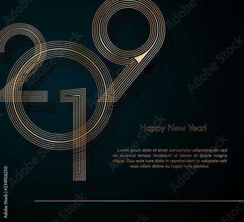 Fototapeta Gold Lines 2019 New Year On A Dark Background Creative Element For Design Luxury Cards Invitations Party For The New Year 2019 And
