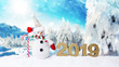 canvas print picture - 2019 Silvester Karte WInter karte