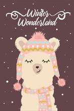 Winter Cute Llama In Scarf And Hat Winter Wonderland