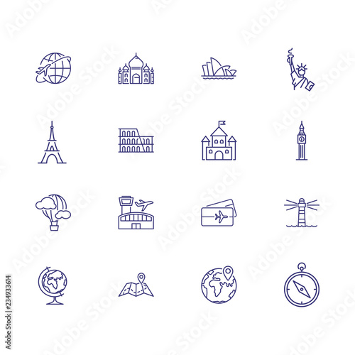 World sightseeing tour icons. Set of line icons. Tourism, map ...