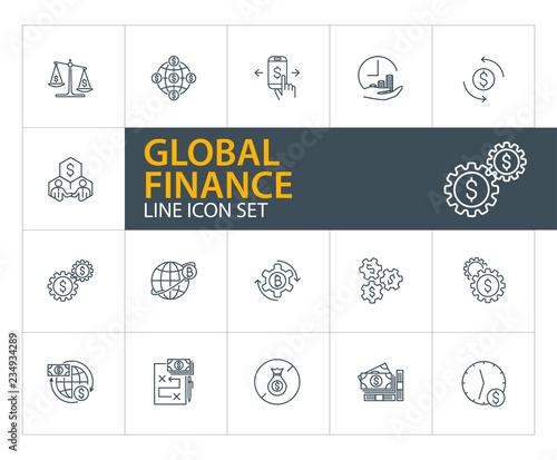Global finance line icon set  Stakeholders, bitcoin mining, cash
