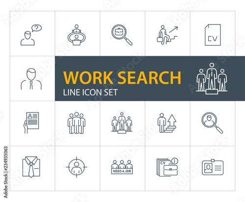 Work search line icon set  Candidate, CV, badge  Job finding concept
