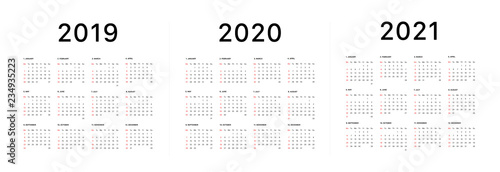 Obraz 2019 calendar starting sunday Calendar 2019 and 2020 template. Calendar design in black and white colors, holidays in red colors. Vector - fototapety do salonu