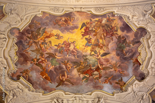 PRAGUE, CZECH REPUBLIC - OCTOBER 18, 2018: The baroque fresco of Jesus Christ in the Glory in church kostel Svaté Voršily by Jan Jakub Stevens ze Steinfelsu (1707).