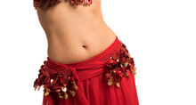 Beautiful Belly Dancer Young Woman In Gorgeous Red And Gold Costume Dress. Part Of Body