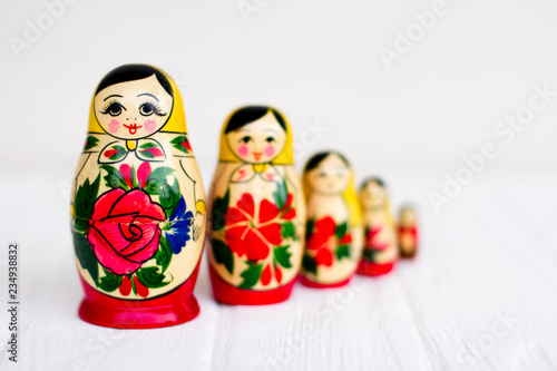 Russian national nesting dolls Tableau sur Toile