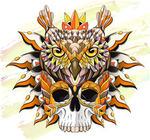 Patterned Owl And Skull On The...