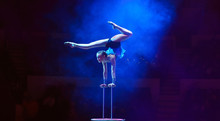 Performance Of The Acrobat Girl In The Circus.