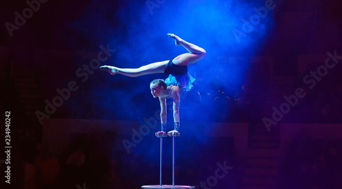 Fotografie, Tablou Performance of the acrobat girl in the circus.
