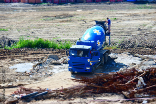Poster Nautique motorise concrete mixer with miniature effect