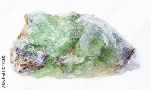 raw green Beryl with Alexandrite stone on white Wallpaper Mural