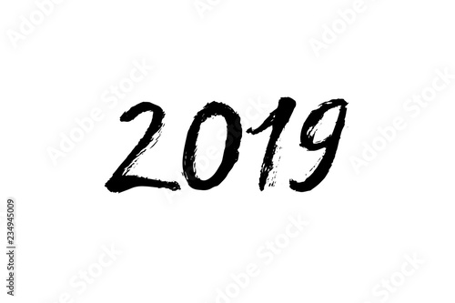 Fototapety, obrazy: New year greeting black ink calligraphy. 2019 year text. Hand written modern brush lettering. Hand drawn holiday design elements. Festive sign card.