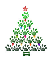 Christmas Tree Made Of Paw Prints, Colorful Light Bulb And Bone. Happy New Year Greeting Card