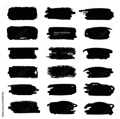 Fototapety, obrazy: Grunge vector abstract hand - painted element.Set of black brush stroke and texture. . Underline and border.