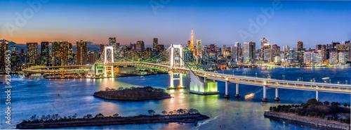 fototapeta na szkło Rainbow Bridge Panorama in Odaiba mit Tokyo Tower, Tokyo, Japan