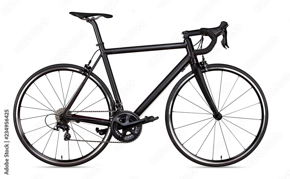 Fototapeta black racing sport road racer bike bicycle racer isolated