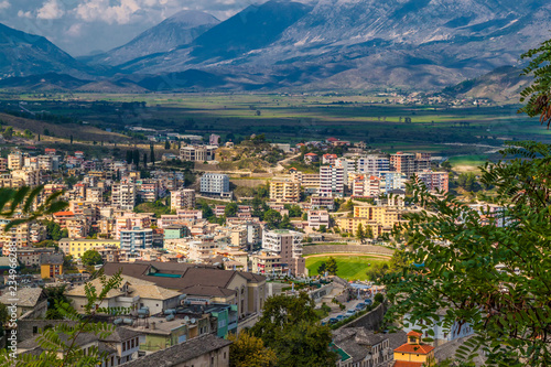 Fotografie, Obraz  View of Old Town and modern buildings of Gjirokaster from the castle, UNESCO Wor