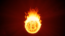 Bitcoin Cryptocurrency Burning In Fire. Gold Coin Burns Down. Red Bearish Market Decline, Crash And Blockchain Bubble. Crypto Capitalization In Flames Concept 3D Illustration. 4K
