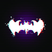 Bat Emblem, Sign With Glitch Effect, Vector Illustration