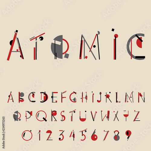 Fényképezés Retro geometric font. 20s 30s style. Vector illustration
