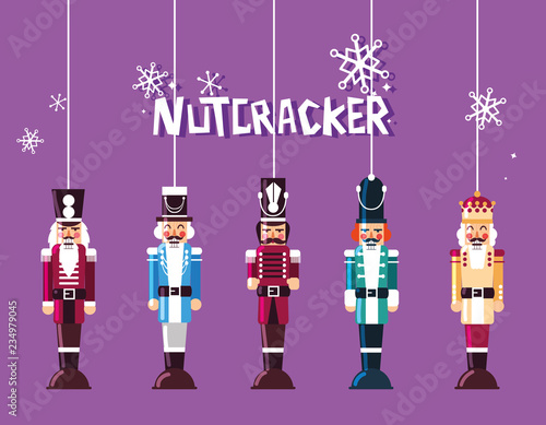 Fotomural set of nutcracker toy hanging