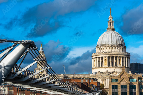 Scenic view of St Paul's cathedral with Millennium Bridge in foreground, London, Canvas Print