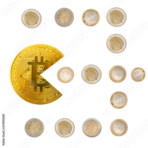 Fotografie, Obraz  Bitcoin pacman shape eating euro coins isolated on white