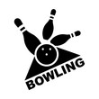 Bowling. Skittles and a ball. Vector poster logo.