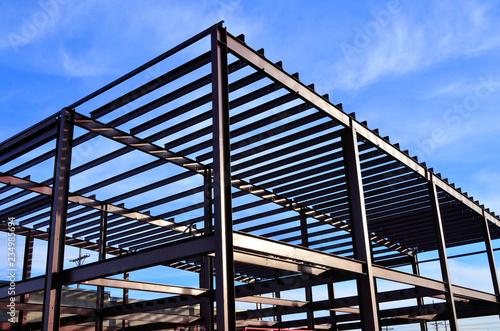 Steel framework of commercial building under  construction. Tapéta, Fotótapéta