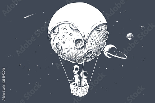 Leinwand Poster alien and astronaut travels by on aerostat