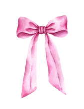 Hand Painted Pink Bow Isolated On White Background.