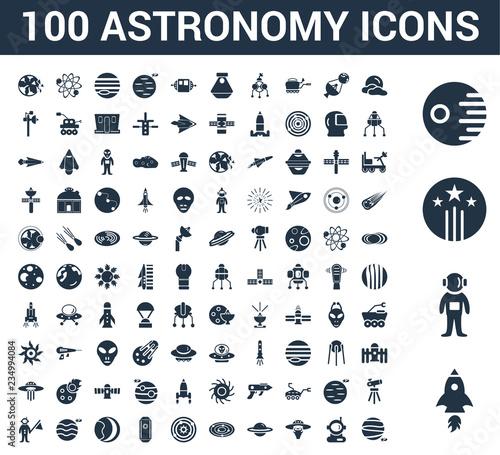 Fotografie, Obraz 100 astronomy universal icons set with Rocket Start, Astronaut Ingravity, Shooti