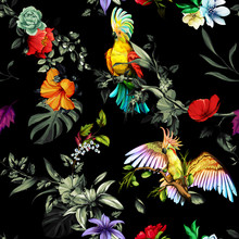 Seamless Pattern Of Parrots Cockatoo On The Tropical Branches With Leaves And Flowers On Dark. Hand Drawn, Vector - Stock.