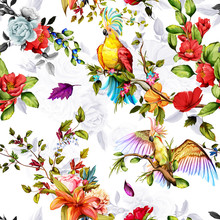 Seamless Pattern Of Parrots Cockatoo On The Tropical Branches With Leaves And Flowers On White. Hand Drawn, Vector - Stock.