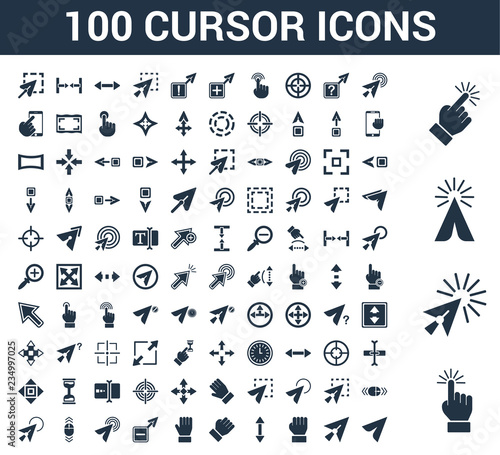 Photo  100 cursor universal icons set with Select, Click, Cursor, Drag, Scroll, Hold