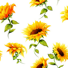 Fototapeta Słoneczniki Seamless pattern of sunflowers on white. Hand drawn. Watercolor. Vector - stock