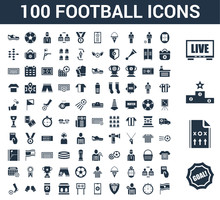 100 Football Universal Icons Set With Goal, Strategy, Podium, Television, Soccer Field, Stopwatch, Player, Club, App, Scoreboard