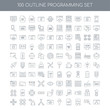 100 programming outline icons set such as Cloud computing linear