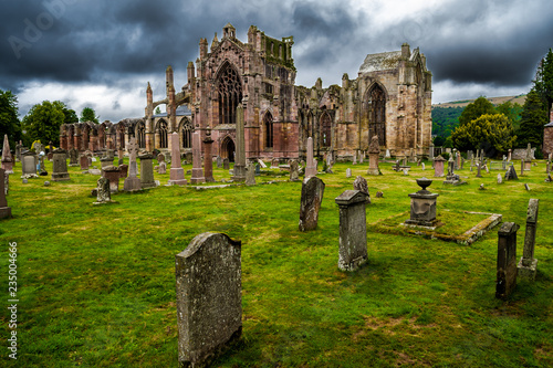 Graveyard and Ruins of Melrose Abbey in Scotland Canvas Print