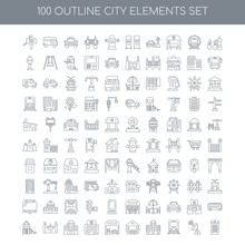 100 City Elements Outline Icons Set Such As Factory Linear, Ante