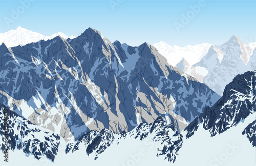 Valokuva  Vector Himalayan mountain Lhotse - south face view from Everest Base Camp Trek
